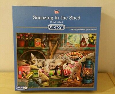 Gibsons 'SNOOZING IN THE SHED' 1000 piece Jigsaw Puzzle Steve Read G6248