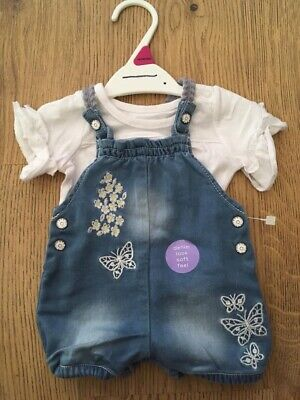 Baby Girls Pretty Soft Touch Short Dungarees & Top Outfit. Butterfly Brand New