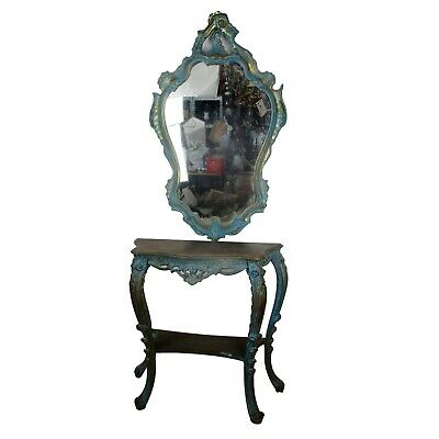 Demi Lune Console Ornate Hand Carved Wood Mirror Hollywood Regency Blue Gold WOW