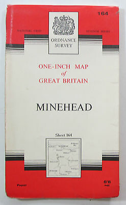 1966 old vintage OS Ordnance Survey One-inch seventh Series Map 164 Minehead