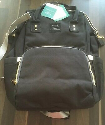 LAND Mommy Baby Diaper Bag Large Capacity Backpack Baby Nappy Tote Bag Black