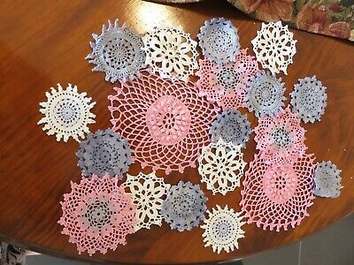 19 Crochet motifs mini doilies 6-12 cm pink denim blue white
