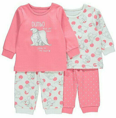 Disney Baby Girls Dumbo Long Sleeve Pink Pyjamas 2 Pack Brand New