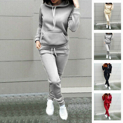 Jogging Sweat Sport Capuche Survêtement Femme Ensemble Pantalon Pull De