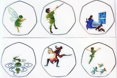 Peter pan 2019 50p coin stickers high quality and colour x 12 new