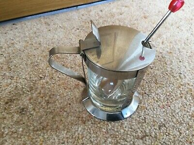 Vintage retro 1960s stainless steel/glass  mustard/condiment pot.