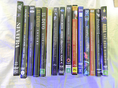 Bulk DVD lot of 15 music and Concert DVDs  Il Divo, Sinatra, Rod Stewart etc...