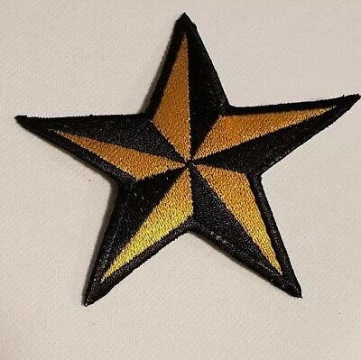 Stern Schwarz gelb Rockabilly Tattoo Aufnäher Punk Patch Nautic Star old school