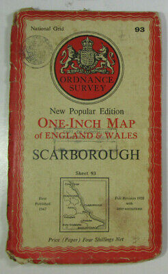 1947 Old OS Ordnance Survey One-Inch New Popular Edition Map 93 Scarborough