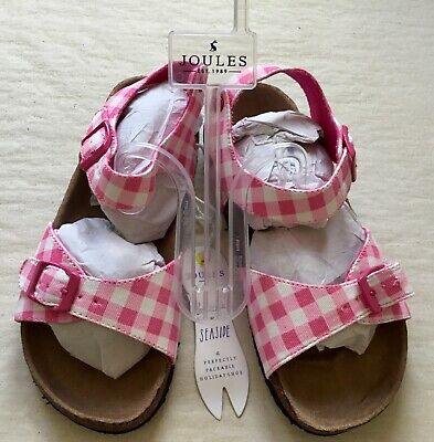 Bnwt girls pink gingham sandles size 2 from joules