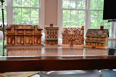 Lot of 4 Byron Mold Ceramic Hand Painted Houses & Buildings with Lighting 1990s