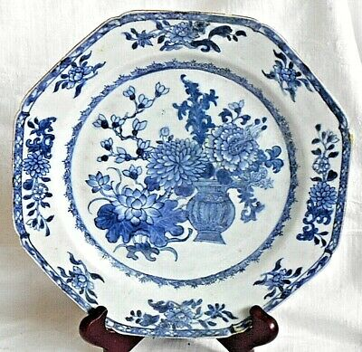 C18Th Chinese Blue And White Plate With Flowers Within A Border