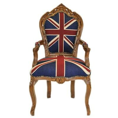 BAROQUE STYLE CHAIR WITH ARMREST MAHOGANY / UNION jACK