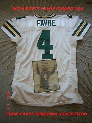 new styles df6d5 ee7f2 BRETT FAVRE GAME Worn Used Signed Packers NFL Football ...