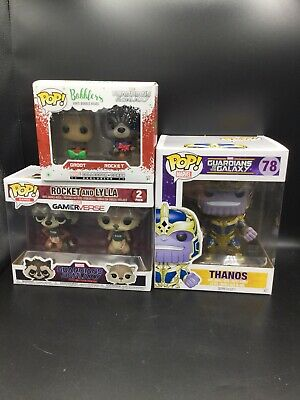 Guardians Of The Galaxy Funko Pop Lot: Thanos Rocket Groot
