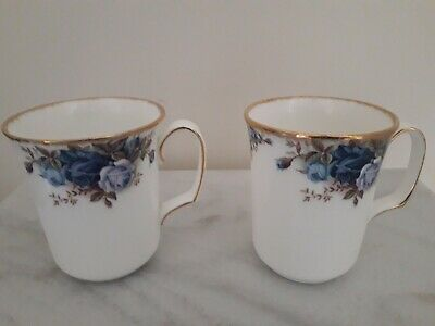 A Fine Pair Of Royal Albert Moonlight Rose Mugs In Very Good Condition