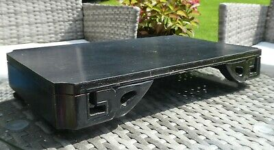 Vintage Antique Black Ebonised Wood Chinese Oriental Stand. Unsigned.