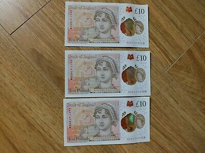 3Xaa01 Polymer £10 Notes Consecutive Numbers