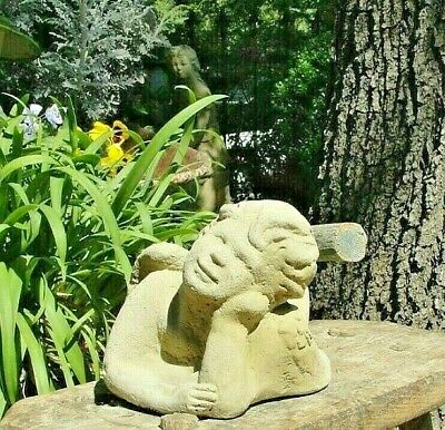 VINTAGE LAYING ANGEL Solid Cement Concrete Cherub Outdoor Garden Memorial Statue