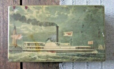 Antique Great Lakes Steamship Steamer Paddle Boat Wooden Box w/ Lighthouse Milwa