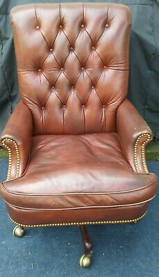 Hickory Chair Company Tufted Leather Brass Mahogany Executive Office Desk Chair