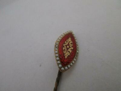Antique Art Deco C1920 Guilloche Enamel 9Ct Gold Stick Pin 1.7G 1.09Dw  K326 A/F