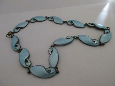 Antique Art Deco C1920 Guilloche Enamel Sterling Silver Necklace 38Cm K327