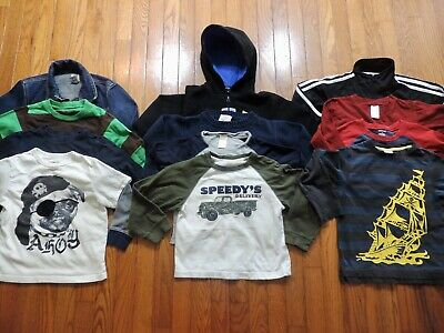 Boy's GYMBOREE BABY GAP ADIDAS 12 Piece Tops Jackets & Shirt Lot Size 4 / 5T