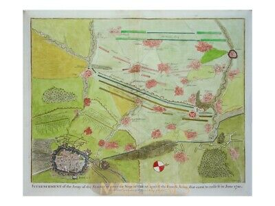 Douai France Antique map of the battle Douay Rapin 1743
