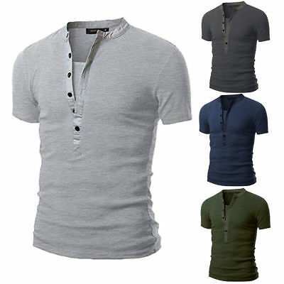 Men's Short Sleeve V Neck Slim Fit Muscle Tee Tops Summer Button Blouse T Shirts