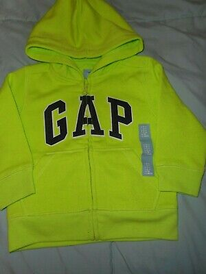 BABY GAP NWT Boy Girl 2 years LS hoodie jacket lime green zipped front GAP ltrs