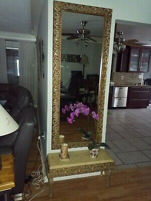 6 ft x 2 ft gold ornate dressing mirror with under marble table