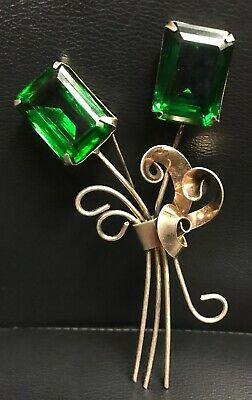 Vintage Antique Large Sterling Silver Brooch Pin W/green Cut Glass Stones 4+""
