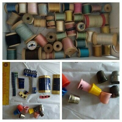 Vintage lot of aprox 40 wooden thread spools, assorted snaps & hooks, & thimbles