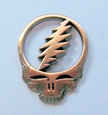 Grateful Dead Skull Pin  steal your face 1 1/4 in cut out copper
