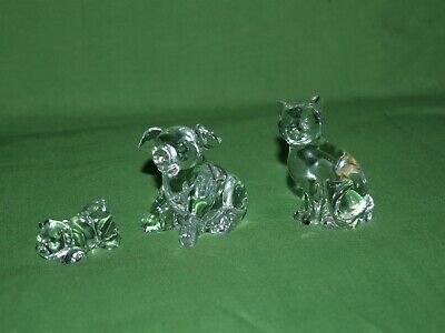 3 x Princess House 24% Lead Crystal Animal Figures 2 Pigs and a Cat