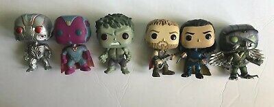Funko Pop Marvel Lot (6) Ultron Hulk Loki Thor Vulture Vision Loose