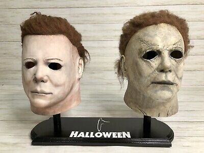 Halloween DOUBLE Michael Myers Mask Stand ONLY w/ FILM LOGO & 🔪 KNIFE 🎃