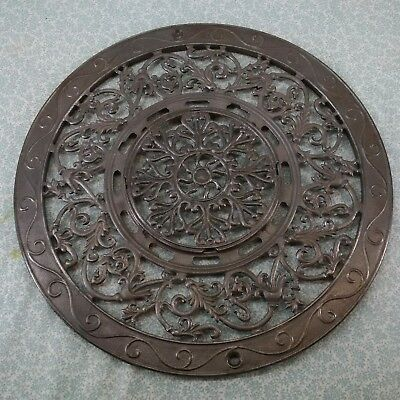 "Vintage 1897 Cast Iron Register Vent Grate: 15.5"" complete, 2 part, soda blasted"
