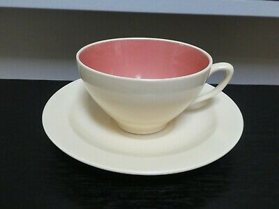Vintage Susie Cooper Crown Works Burslem Cup & Saucer Matt Cream / Red
