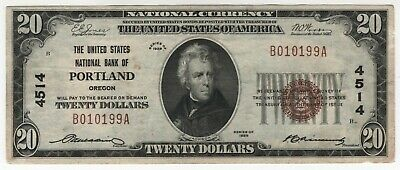 """1929 $20 """"FORBIDDEN TITLE"""" Portland Oregon National Banknote Currency Choice VF"""