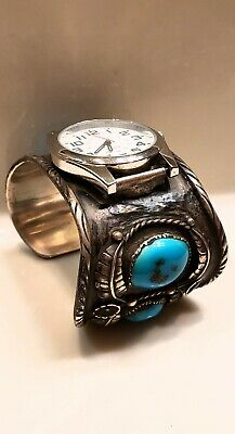 Vintage Antique Old Pawn Sterling Silver  Turquoise Watch Cuff Bracelet  123.3g