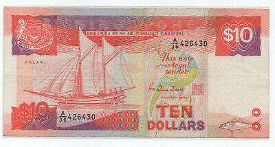 SINGAPORE $10 Ship Series Circulated VF+ Excellent buy!