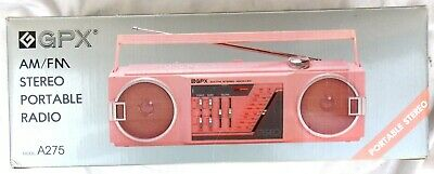 Vintage 1980's GPX AM FM Stereo Portable Radio Boombox Pink A275 Mint w/ Box