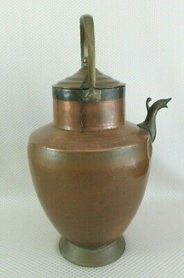 Antique Early 1900s Italian Hand Hammered Copper Pitcher /w Serpent Spout