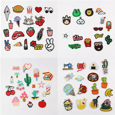 Embroidered Sew Iron On Repair Patches Fruit Animal Cartoon Cloth Badge Applique