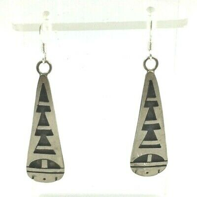 Vintage Hopi Sterling Silver Overlay Abstract Earrings