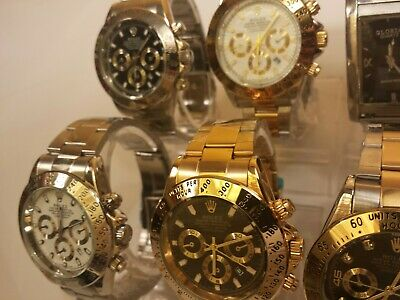 Lot of Six Men's Wrist Watches Relogio Oyster Perpetual Quartz Not Mechanical