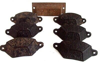 7 Vintage Antique Cast Iron Victorian Eastlake Drawer Pulls Cup Handles-Set Of 6