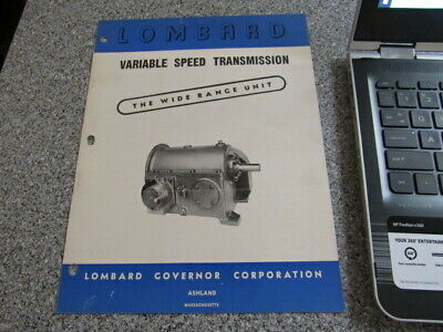 VINTAGE Equipment Brochure LOMBARD VARIABLE SPEED TRANSMISSION GOVERNOR CORP.